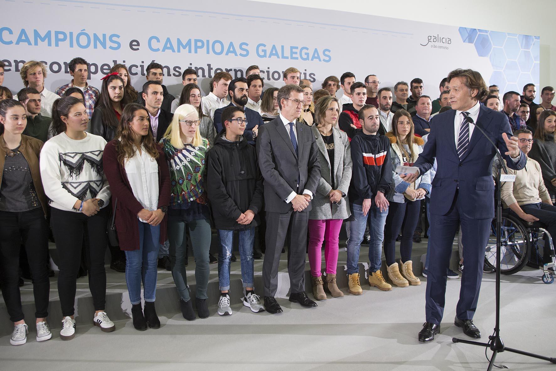 Alberto Núñez Feijóo e José Ramón Lete Lasa na recepción aos deportistas